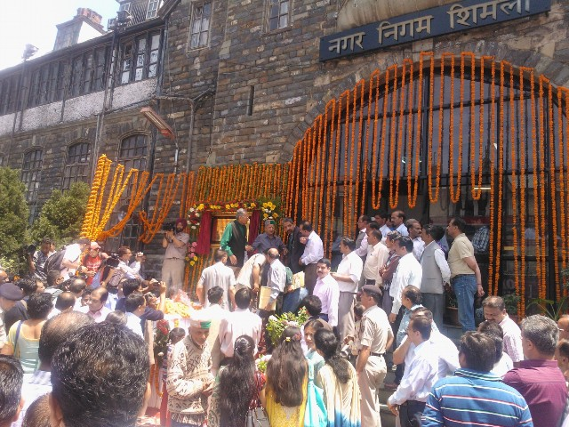 Virbhadra Lays Foundations Stone of Shimla Town Hall Restoration Project