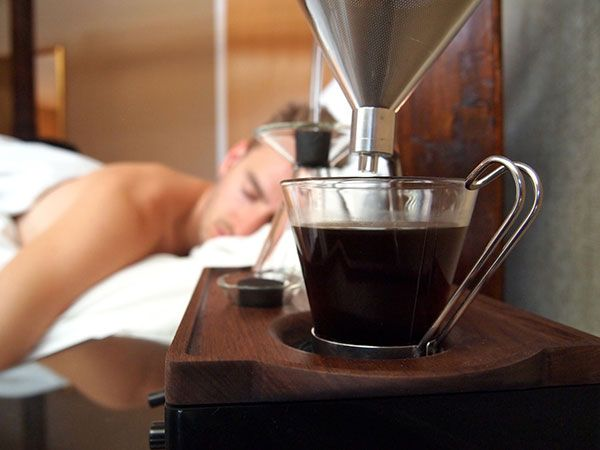 The Barisieur Alarm Clock wakes you up with a cup of fresh brewed coffee
