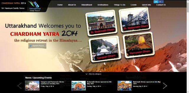 CharDham Banner of Uttarakhand Govt Tourism Portal