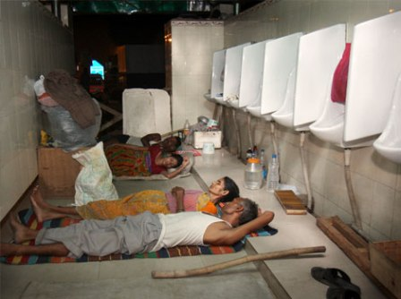File Photo: Patients living in a  toilet outside AIIMS