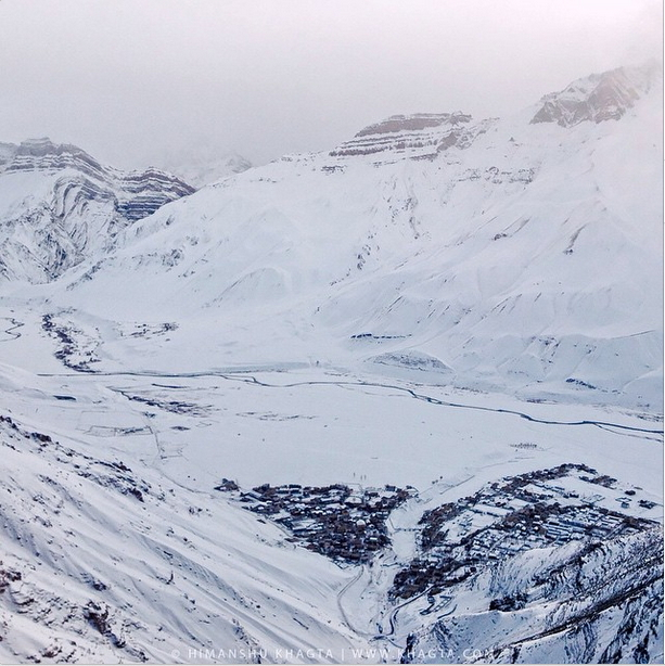 Birds eye view of Kaza in deep winter