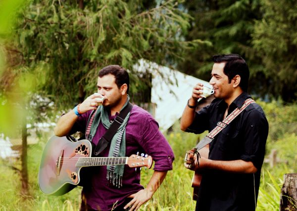 To the left, Abhishek,vocalist and guitarist. To the right, Shishir, drummer and music composer
