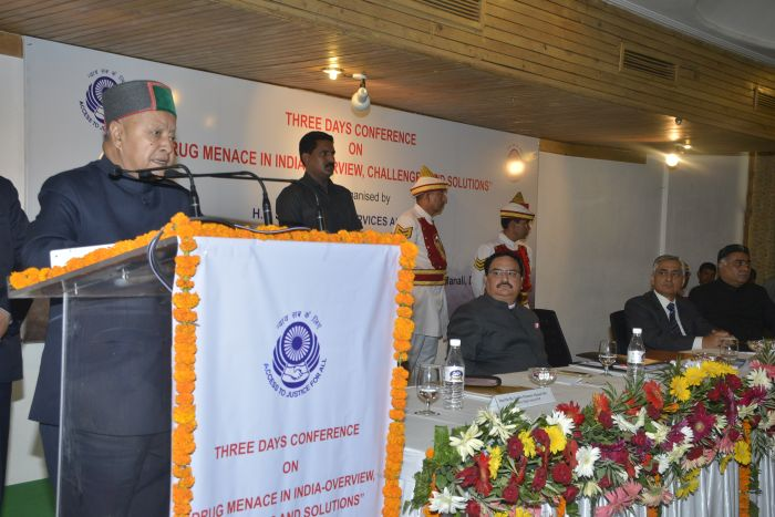 CM addressing  the inauguaral session of three day  conference in Manali organized by HP State legal services authority under the aegis of National legal services autority