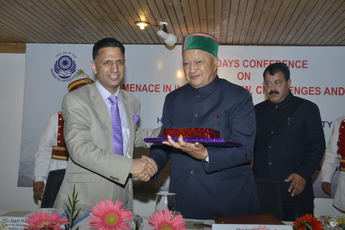 chief justice of high court welcoming CM in the inauguaral session of three day  conference in Manali organized by HP State legal services authority under the aegis of National legal services autority